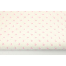 Bawełna 100% różowe kropki 4mm na białym tle