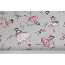 Bawełna 100%, różowe tancerki, baletnice na szarym tle