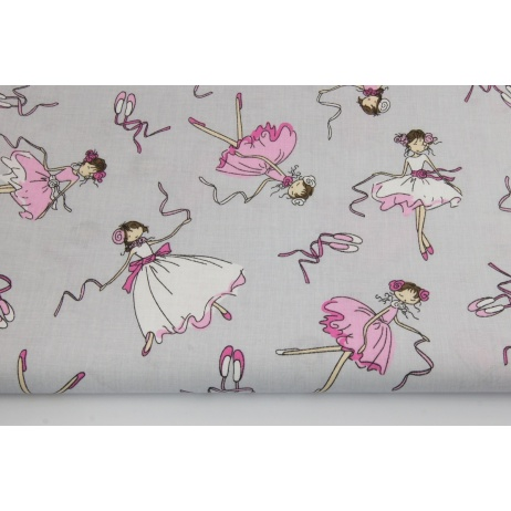 Cotton 100% pink dancers, ballerinas on a gray background