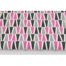 Bawełna 100%, piramidki różowo-szare na białym tle RZ
