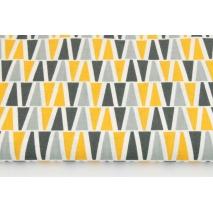 Bawełna 100%, piramidki pomarańczowo-szare na białym tle RZ
