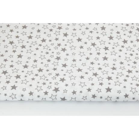Bawełna 100% mix gwiazdki szare na białym tle