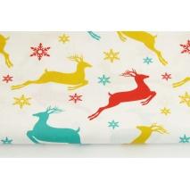 Bawełna 100%, kolorowe jelenie, śnieżynki na białym tle