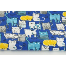 Cotton 100%, gray, blue cats on a cobalt background