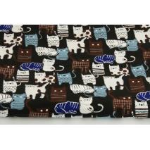 Bawełna 100%, kotki białe, brązowe na czarnym tle