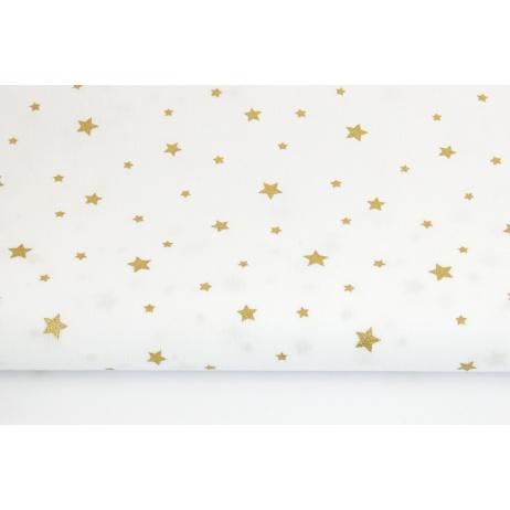 Bawełna 100% złote gwiazdki na białym tle
