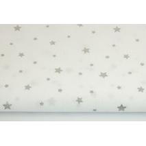 Bawełna 100% srebrne gwiazdki na białym tle