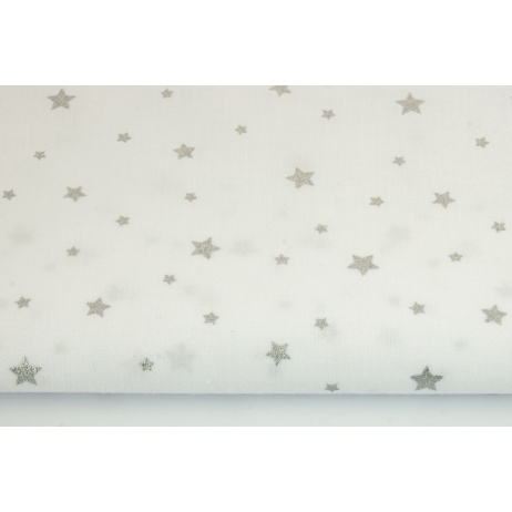 Cotton 100% silver stars on a white background