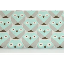 Cotton 100% geometric owls turquoise - gray