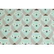 Bawełna 100% sowy geometryczne turkusowo-szare