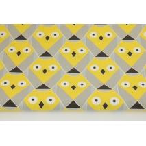 Bawełna 100% sowy geometryczne żółto-beżowe