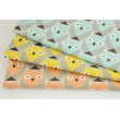 Cotton 100% geometric owls salmon-beige