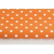 Bawełna kropki 9mm na pomarańczowym tle