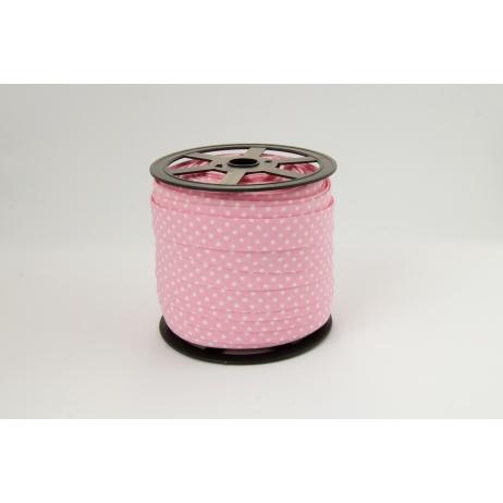 Lamówka bawełniana różowa (2) w kropki 18mm