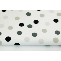 Cotton 100% polka dot gray-beige and black on a white background