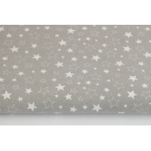 Bawełna 100% mix gwiazdki białe na szarym tle