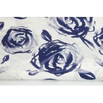Bawełna 100% batyst, granatowe malowane róże na białym tle