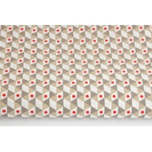 Bawełna 100% składak geometryczny czerwono-beżowy
