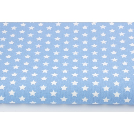 Bawełna gwiazdki białe 1cm na niebieskim tle