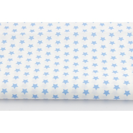 Cotton 100% 1cm blue stars on a white background