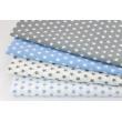 Bawełna gwiazdki niebieskie 1cm na białym tle