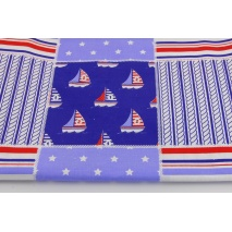 Cotton 100% marine patchwork navy blue, red