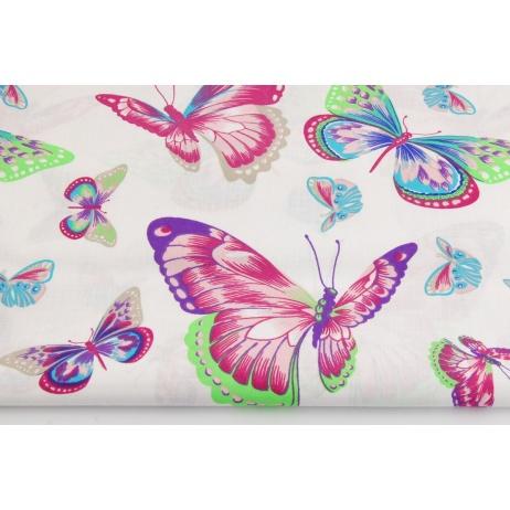 Bawełna 100%, duże, kolorowe motyle, motylki na białym tle