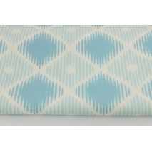Cotton 100%, Home Decor, big diamonds in shades of turquoise