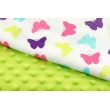 100% Cotton pastel, colorful butterflies on a white background.