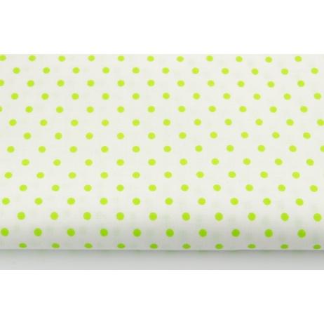 Bawełna 100% jaskrawozielone kropki 4mm na białym tle