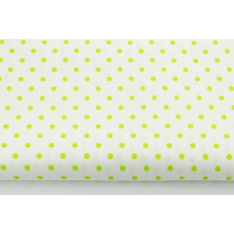 Cotton 100% bright green dots 4mm on a white background