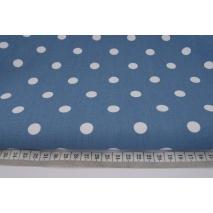 Bawełna 100% kropki białe 12mm na c.niebieskim tle