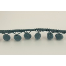 Graphite ribbon 15mm pom poms (double threat)