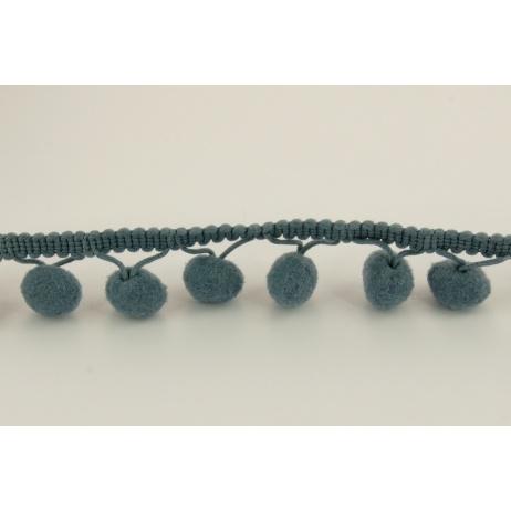 Graphite ribbon 15mm pom poms (double threat)