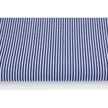 Cotton 100% navy stripes 2x1mm on a white background