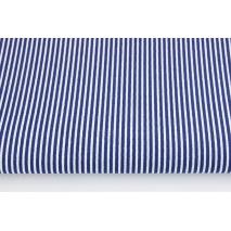 Cotton 100% navy stripes 2x1mm on a white background