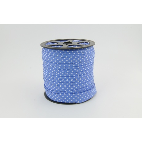 Cotton bias binding dark blue dotted 18mm
