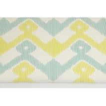 Cotton 100%, Home Decor, honey-turquoise zigzag