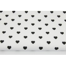 Cotton 100% black hearts on a white background