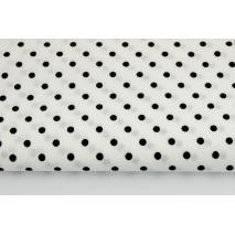Bawełna 100% czarne kropki 4mm na białym tle