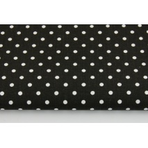 Bawełna 100% kropki 4mm na czarnym tle