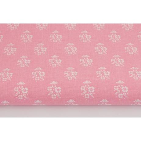 Bawełna 100% białe bukiety kwiatów na różowym tle