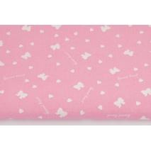 Bawełna 100% białe kokardki, serduszka na różowym tle