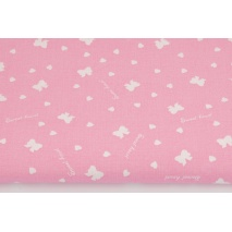 Cotton 100% white bows, hearts on a pink background