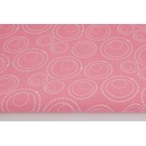 Bawełna 100% perłowe pawie oczka białe na różowym tle