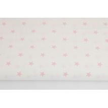 Bawełna 100% gwiazdki jasnoróżowe 1cm na białym tle