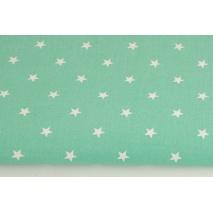 Bawełna 100% gwiazdki białe 1cm na zielonym tle