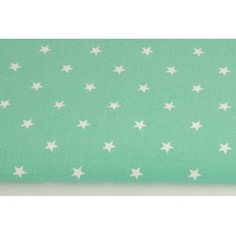 Cotton 100% white stars 1cm on a green background