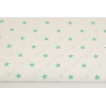 Bawełna 100% gwiazdki zielone 1cm na białym tle