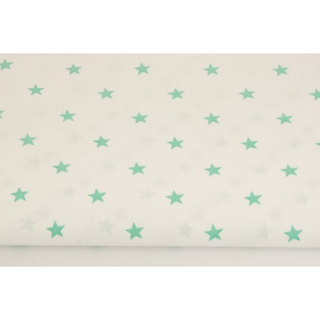Cotton 100% green stars 1cm on a white background
